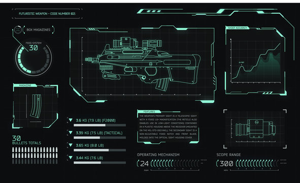 Game interface with futuristic weapon and graphs