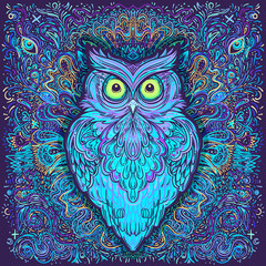 Estores personalizados infantiles con tu foto Cute abstract owl and psychedelic ornate pattern. Character tattoo design for pet lovers, artwork for print, textiles. Detailed vector illustration. Totem animal.
