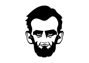Abraham Lincoln head vector. President Abraham Lincoln vector icon. Abraham Lincoln head isolated on a white background