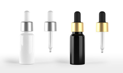 Serum dropper bottle mockup isolated on white background. Pipette included