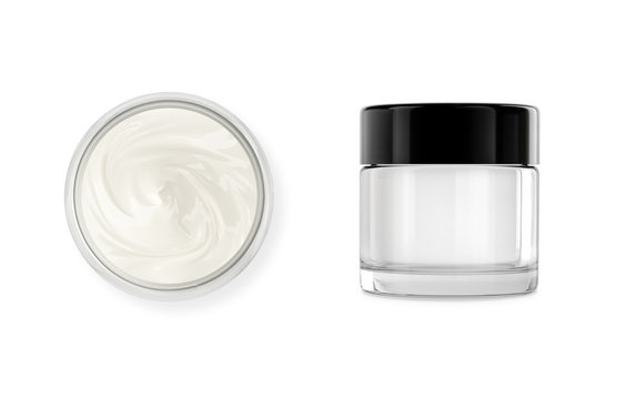 Cosmetic pot with body, face cream. Realistic packaging mockup template with black cap. Isolated on white.Jar made of glass.