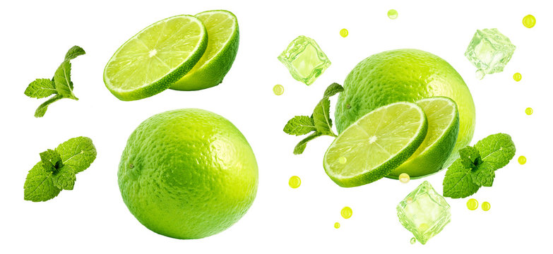 Fresh ripe lime fruit, whole, half cut, lime slices, mint leaves, ice cubes set isolated. Juicy lime mojito cocktail drink clipart ads design elements, studio shot focus stacking on white background