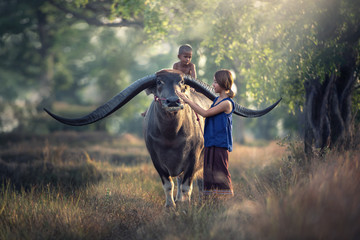 Tuinposter Buffel Asian woman farmer with son riding a buffalo in the field countryside of Thailand