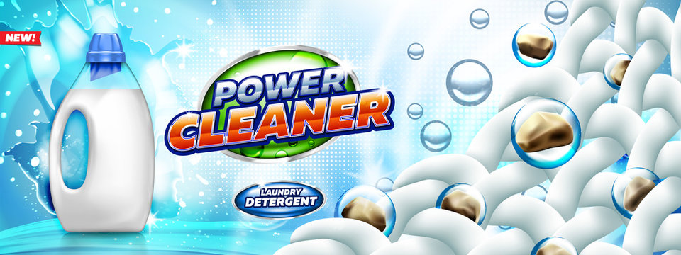 Laundry detergent  banner show removal of dirt from the fabric. Blank bottle filled by washing gel, on bright blue background ready for branding and ads design.