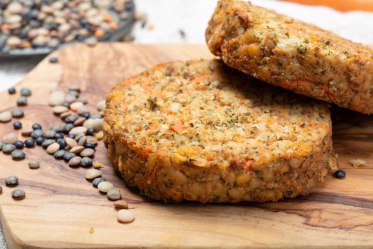 Tasty vegetarian lentils burgers, healthy food