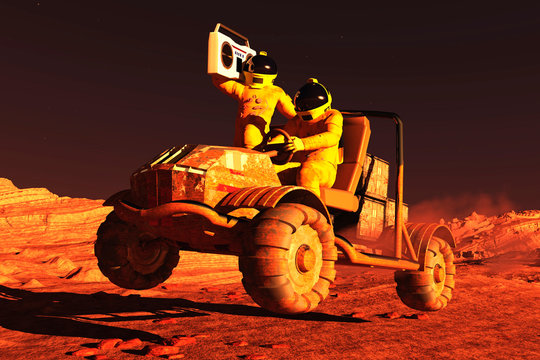 image of martian rover with music 3D illustration