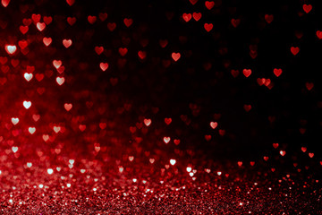 valentines day background with red hearts glitter bokeh on black, card for Valentine's day, christmas and wedding celebration, Love bokeh shiny confetti textured template Fototapete
