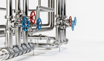 Industrial Pipes with Valves on White Background. Industrial Concept. 3D illustration