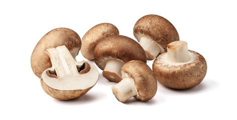 Two fresh mushrooms champignons, one whole and the other cut in half isolated on white background with clipping path