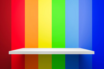 Front view of empty shelf on abstract rainbow gradient multi colors background with colorful...