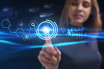 Business, Technology, Internet and network concept. Young businessman working on a virtual screen of the future and sees the inscription: Legal advice