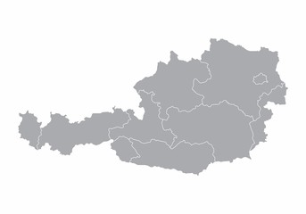 A gray map of Austria divided into regions