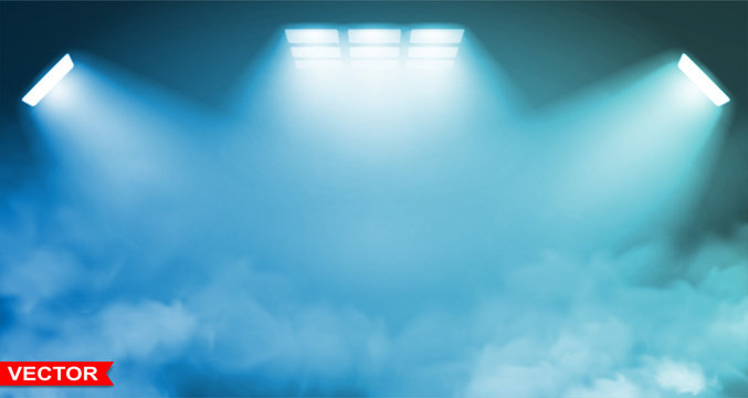 Empty abstract gradient blue studio room background with many white spotlights projectors. Smoke effect. Copy space. Layered vector.