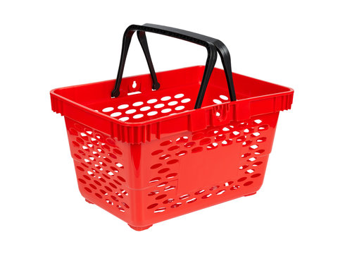 Close up of empty red shopping basket