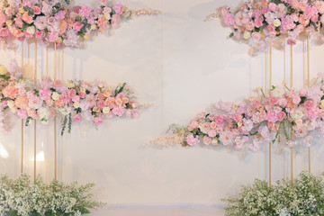 rose flower decoration on wedding backdrop of design wall background