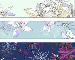 Fotobehang Abstract bloemen Set of bookmarks with a floral pattern for corporate identity. Vector illustration in pastel colors with contour flowers.