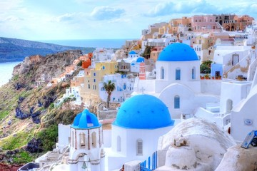 Fotobehang Santorini サントリーニ島の風景