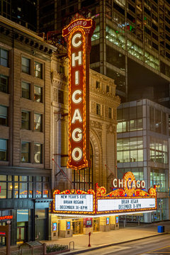 Dramatic view of the iconic Chicago Theater seen at night on December 30, 2018 in Chicago, Illinois