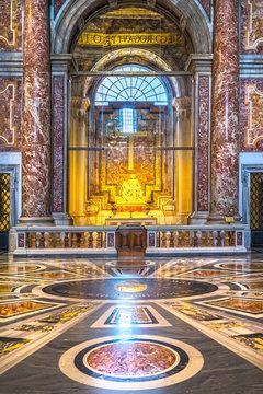 ROME, ITALY - NOVEMBER 3, 2015: La Pieta di Michelangelo, Inside the Saint Peter basilica (San Pietro). St. Peter's Basilica is one of the main tourist attractions of Rome. Vatican city.
