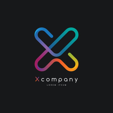 Colorful gradient X letter initial logo template vector, modern app, tech branding design