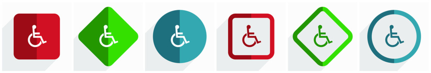 Wheelchair icon set, flat design vector illustration in 6 options for webdesign and mobile applications in eps 10