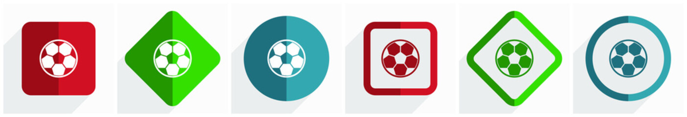 Soccer icon set, flat design vector illustration in 6 options for webdesign and mobile applications in eps 10