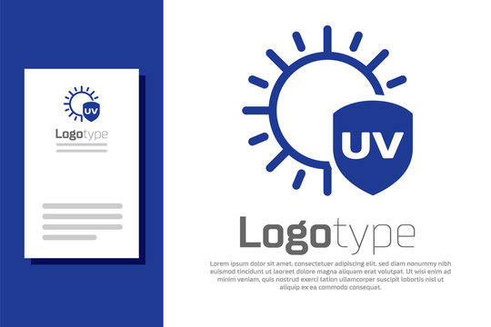 Blue UV protection icon isolated on white background. Sun and shield. Ultra violet rays radiation. SPF sun sign. Logo design template element. Vector Illustration