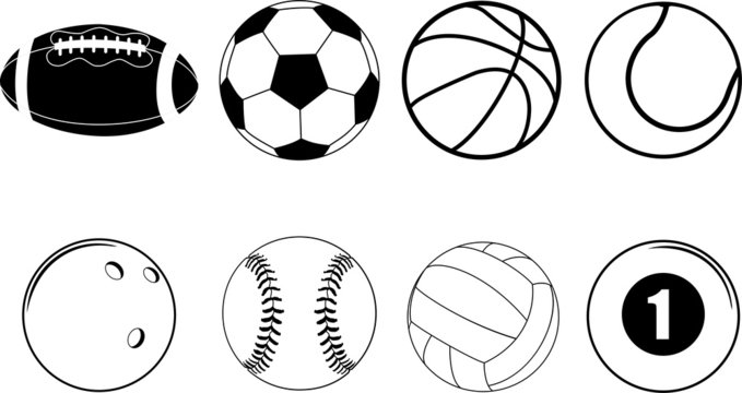 sports ball equipment on white background