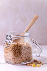 Granola in an open jar