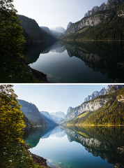 Wall Mural - Beautiful lake Vorderer Gosausee. Salzkammergut is a resort area located in the Gosau Valley in Upper Austria.