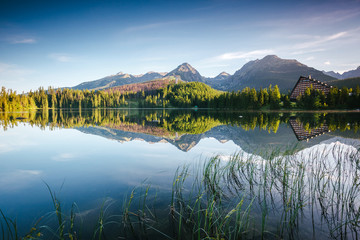 Wall Mural - Wonderful lake in National Park High Tatra. Location Strbske pleso, Slovakia, Europe.