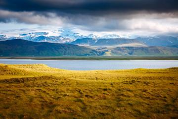 壁紙(ウォールミューラル) - Attractive view by the beach of Kirkjufjara. Location Myrdal valley, Iceland, Europe.