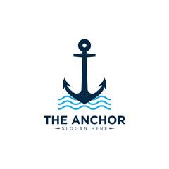 marine retro emblems logo with anchor , anchor logo - vector
