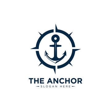 marine retro emblems logo with anchor and sailor compass, anchor logo - vector