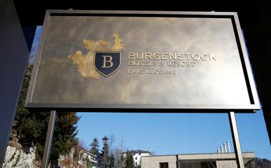 Logo of Buergenstock Hotels & Resort is seen on Buergenstock
