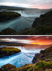 Wall Mural - Amazing view of powerful Godafoss cascade, Iceland, Europe. Images before and after.