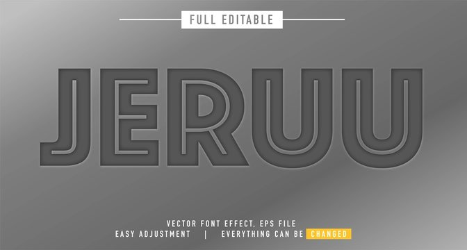 emboss text effect design editable vector, easy to change as needed, deep concave and radiant outside, press-stamp style and fun