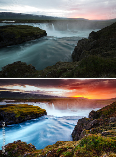 Wall mural Amazing view of powerful Godafoss cascade, Iceland, Europe. Images before and after.