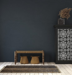 Dark home interior, ethnic style living room, wall mock up background, 3d render