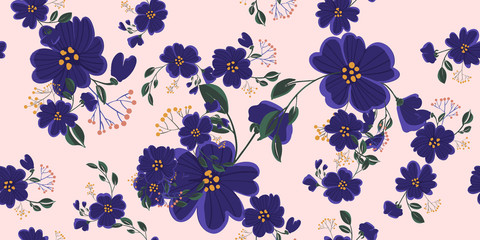 Fashionable cute pattern in nativel flowers. Floral seamless background for textiles, fabrics, covers, wallpapers, print, gift wrapping or any purpose.