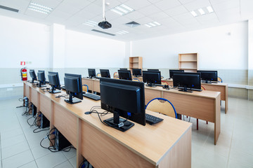 University classroom with computers.