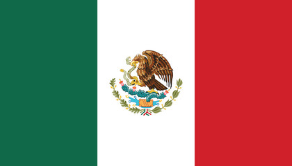 National Mexico flag, official colors and proportion correctly. National Mexico flag. Vector illustration. EPS10. Mexico flag vector icon, simple, flat design for web or mobile app.