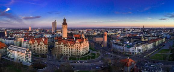 Leipzig Panorama, Leipzig Rathaus Fototapete