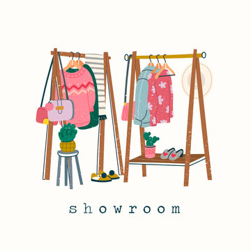 Wardrobe. Showroom concept. Clothing racks. Various clothes on hangers. Boots, coat, shoe boxes, bag, hat, jacket, sweater. Hand drawn trendy colored vector illustration. Stamp texture