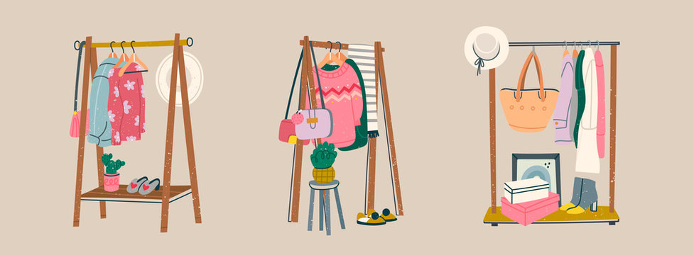 Wardrobe. Showroom concept. Set of three Clothing racks. Various clothes on hangers. Boots, coat, shoe boxes, bags, hats, jackets, sweaters. Hand drawn trendy colored vector illustration