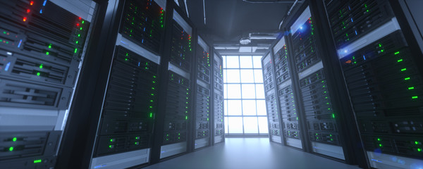 Server units in cloud service data center showing flickering light indicators for massive data...