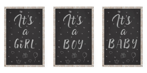 black chalkboard with text it is a boy, girl, baby, hand written in white chalk, isolated