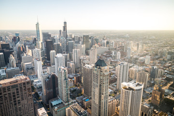 The Chicago skyline viewed from the top of a tall building in Michigan.