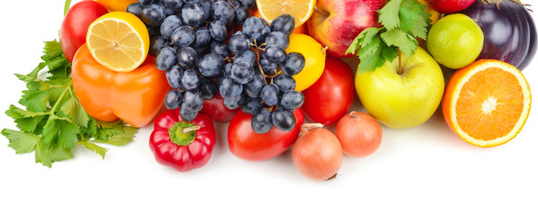 Fotorolgordijn Verse groenten Fruits and vegetables isolated on white background. Wide photo.