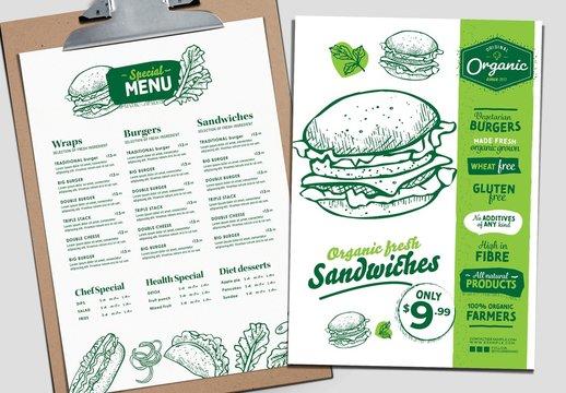 Sandwich Burger Menu Layout with Healthy Organic Theme
